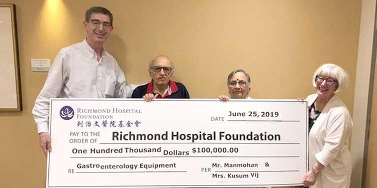 Vij family donates $100,000 to Richmond Hospital